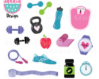Workout clipart. Watercolor healthy fitness yoga
