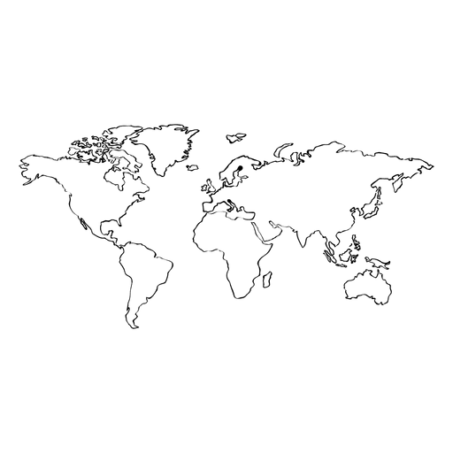 Hand drawn transparent svg. World map vector png