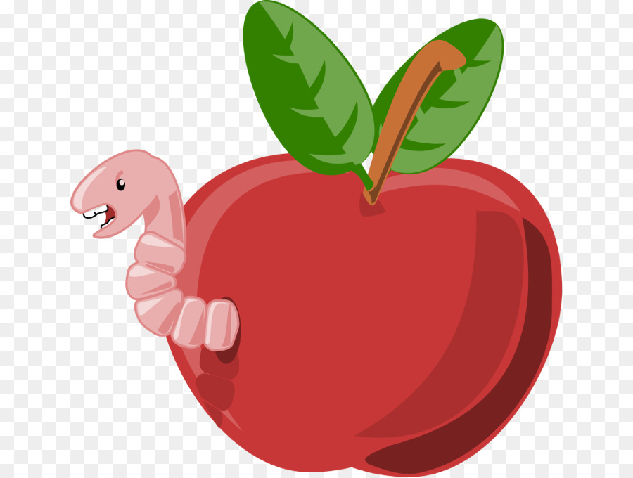 Strawberry cartoon apple transparent. Worm clipart animal food