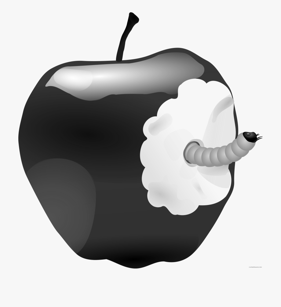 Apple with free black. Worm clipart animal food