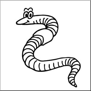Clip cartoon b w. Worm clipart art