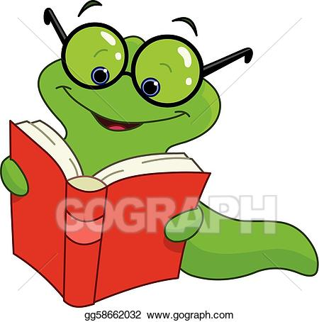 Worm clipart book. Eps vector stock illustration