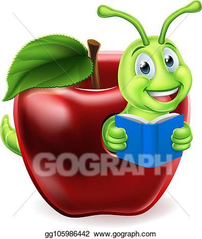 Vector art apple cartoon. Worm clipart book reading caterpillar