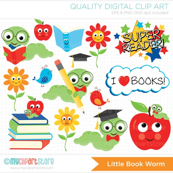 Back to school books. Worm clipart book review
