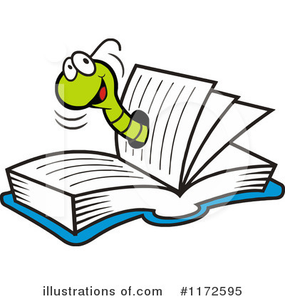 Worm clipart book. Illustration by johnny sajem