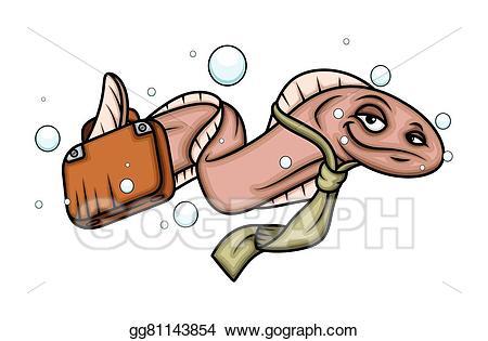 Vector art cartoon eel. Worm clipart business