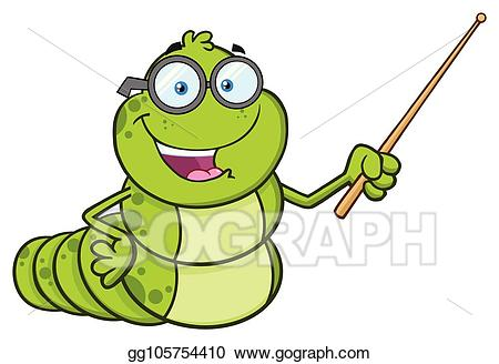 Worm clipart character. Vector stock book teacher