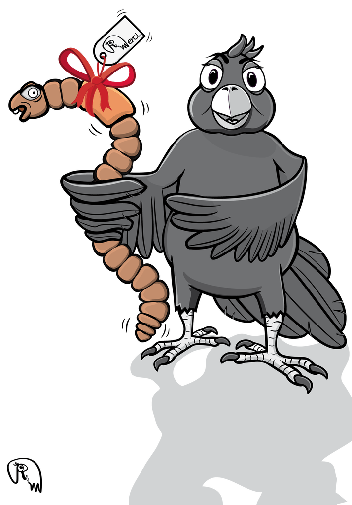 The early bird markus. Worm clipart character