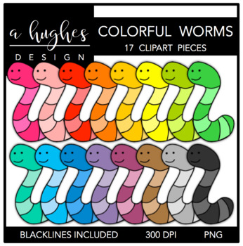 Colorful worms a hughes. Worm clipart colourful