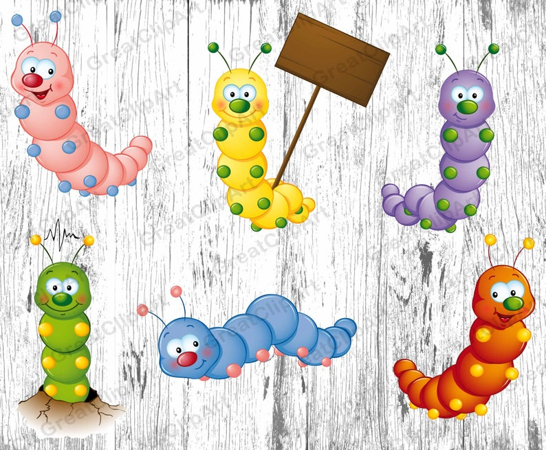 insects kids animals. Worm clipart colourful