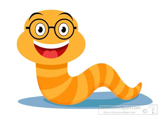 Worm clipart comic. Cartoons smiling wearing glasses