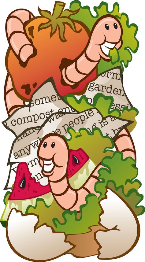 Worm clipart compost bin. Happy worms composting in