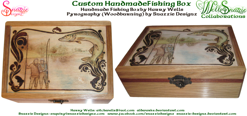 Hand made boxwith pyrograph. Worm clipart fishing tackle box