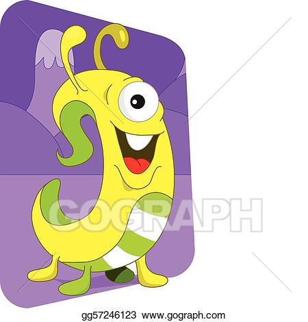 Worm clipart friendly. Vector yellow wormlike alien