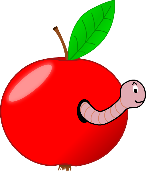 Red apple with a. Worm clipart halloween