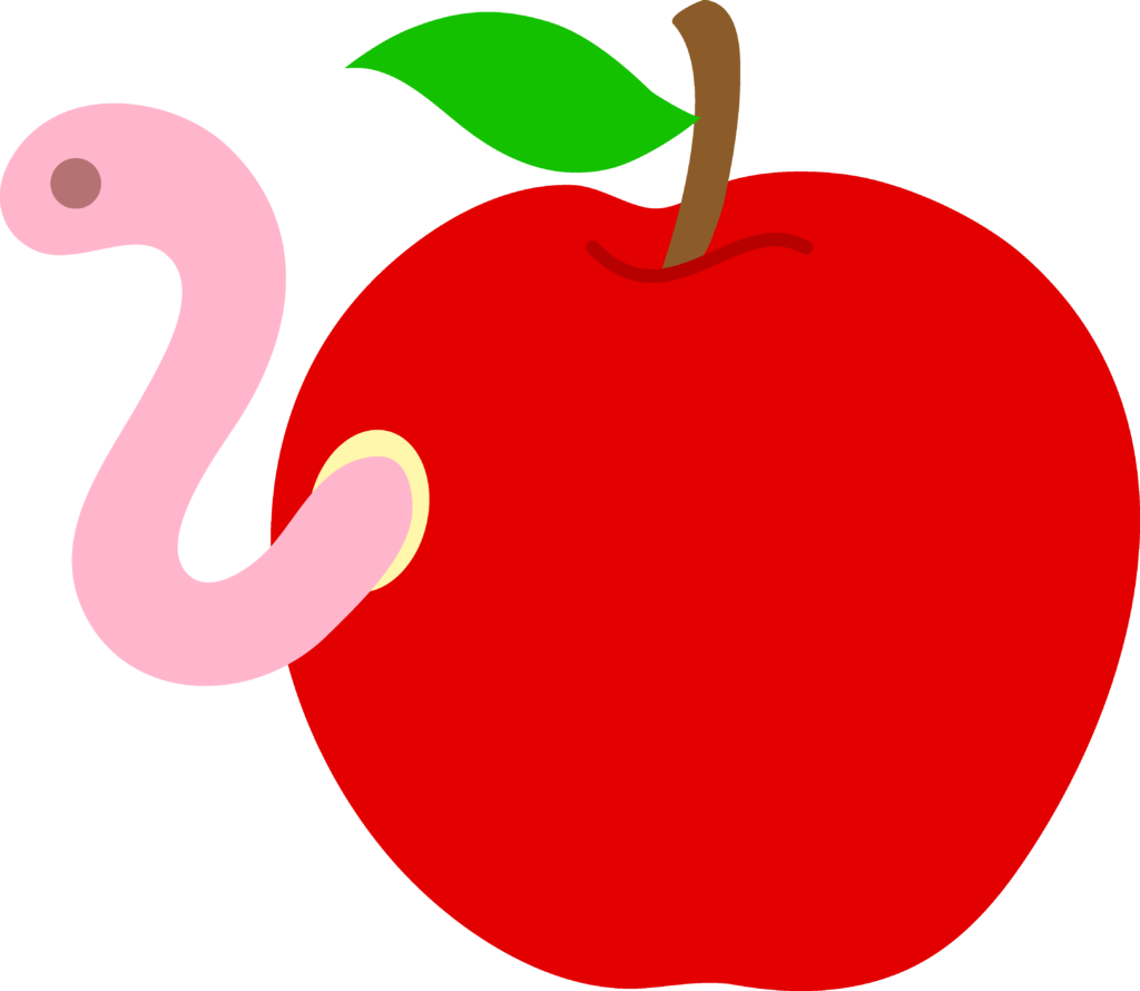 Worm clipart happy. Inside in apple clip