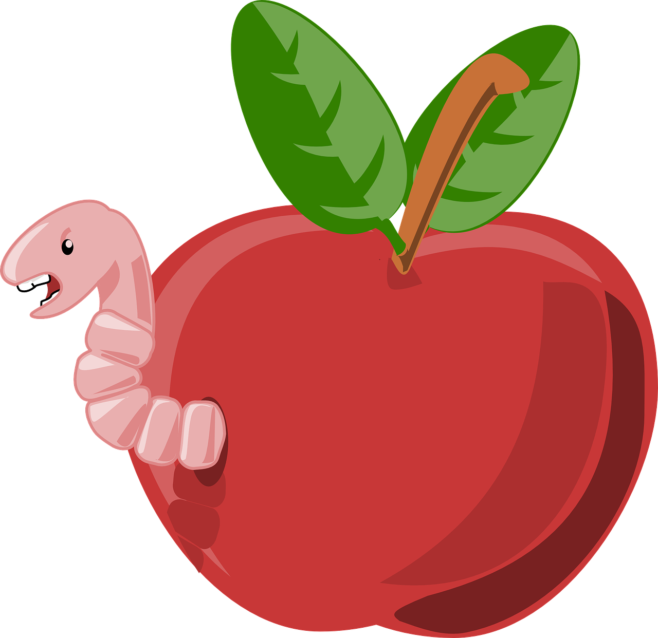 Apple red fruit food. Worm clipart hat