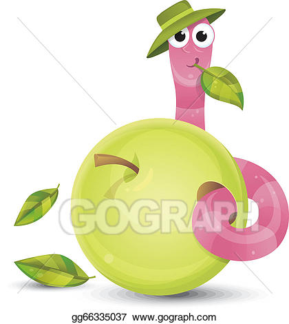 Worm clipart little. Vector and apple illustration