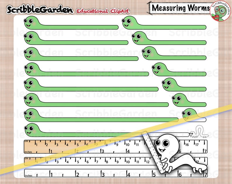 Measuring with inchworms math. Worm clipart measurement