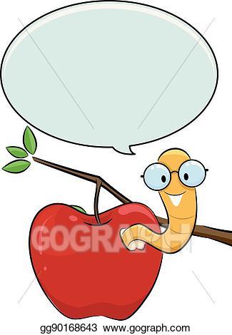 Vector apple speech bubble. Worm clipart nerd
