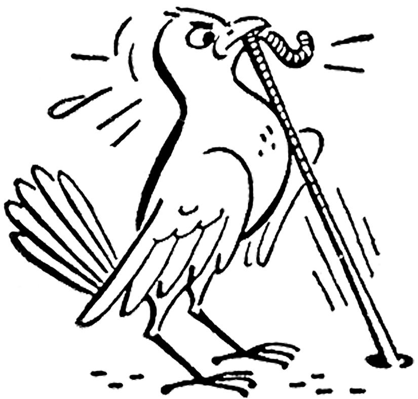 Worm clipart one.  cute retro bird