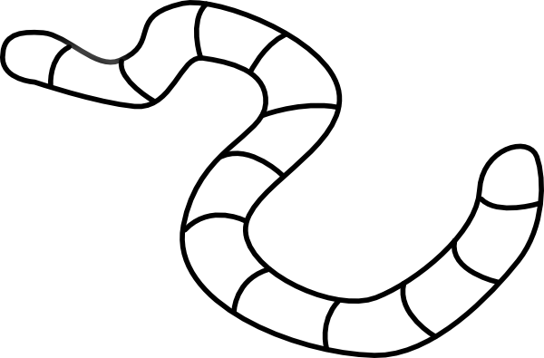 Free black and white. Worm clipart printable