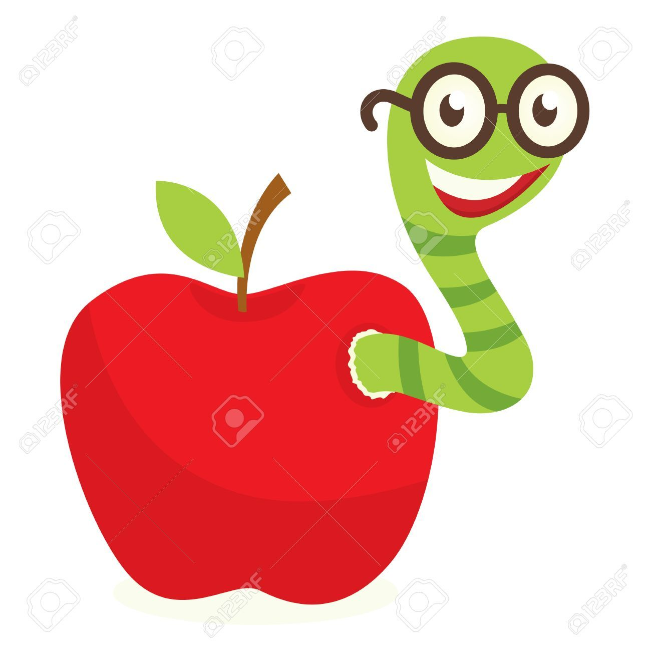 Apple with portal . Worm clipart w be for
