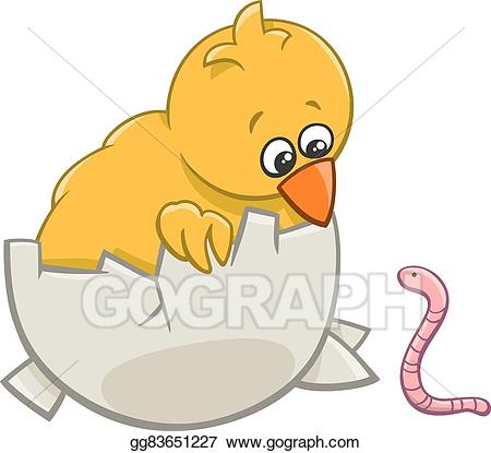 Vector illustration chick with. Worm clipart warm