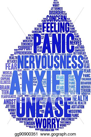 Worry clipart anxiety word. Vector stock cloud illustration