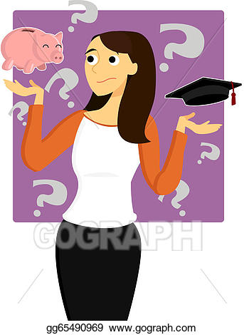 Vector art young woman. Worry clipart difficult