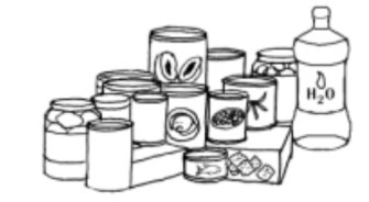 Food and water supplies. Worry clipart emergency supply