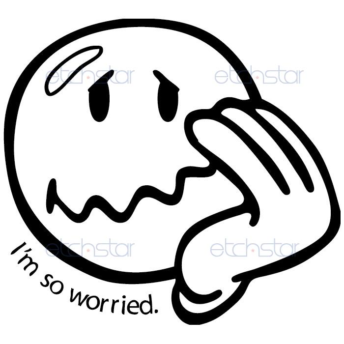 Free worried smiley face. Worry clipart line