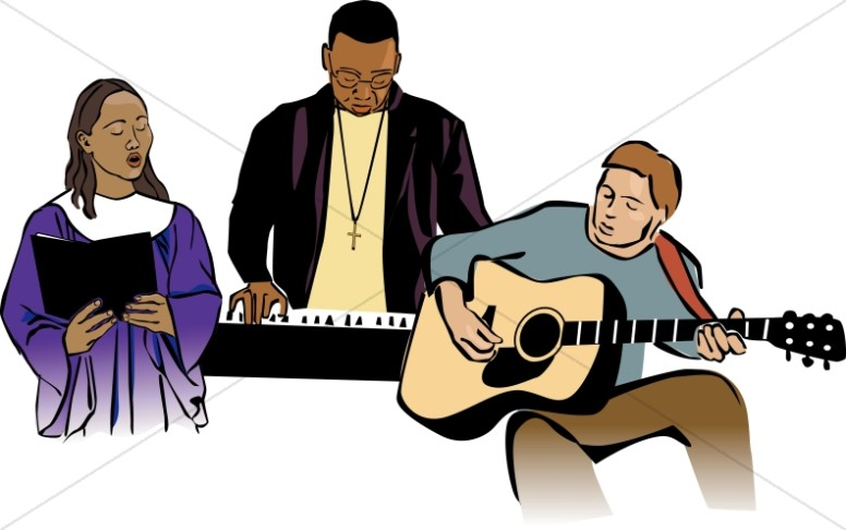 Traditional and contemporary. Worship clipart