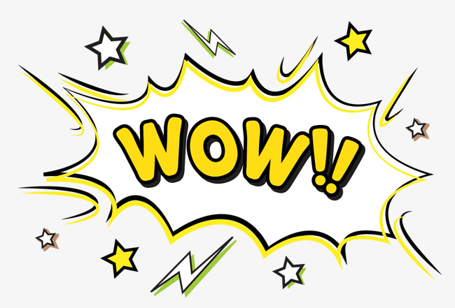 Wow clipart. Cartoon exclamation mark decoration