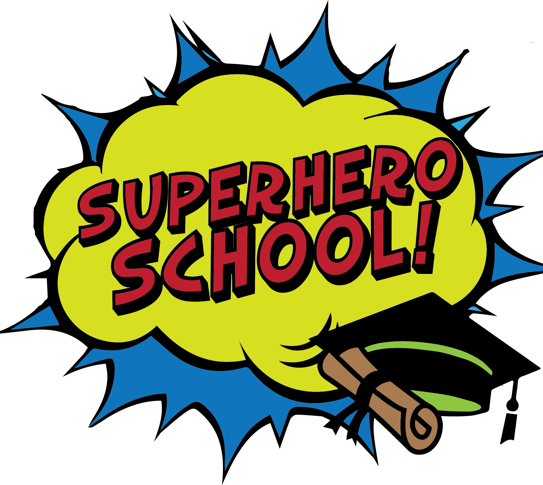 Wow clipart comic book. Superhero school