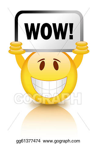 Wow clipart emoticon. Stock illustration smiley gg