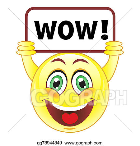 Wow clipart face. Drawings smiley with sign