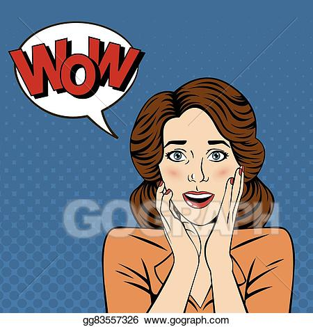 Vector stock woman with. Wow clipart surprised expression