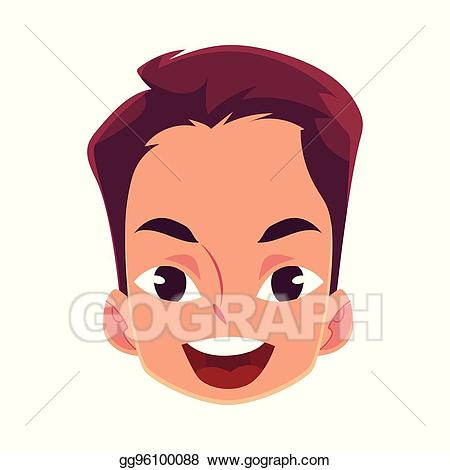 Wow clipart surprised expression. Vector illustration young man