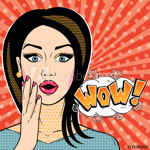 Modern woman with word. Wow clipart surprised face