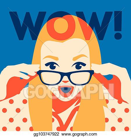 Wow clipart surprised face. Vector of woman holding
