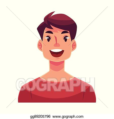 Wow clipart surprised face. Vector illustration young man