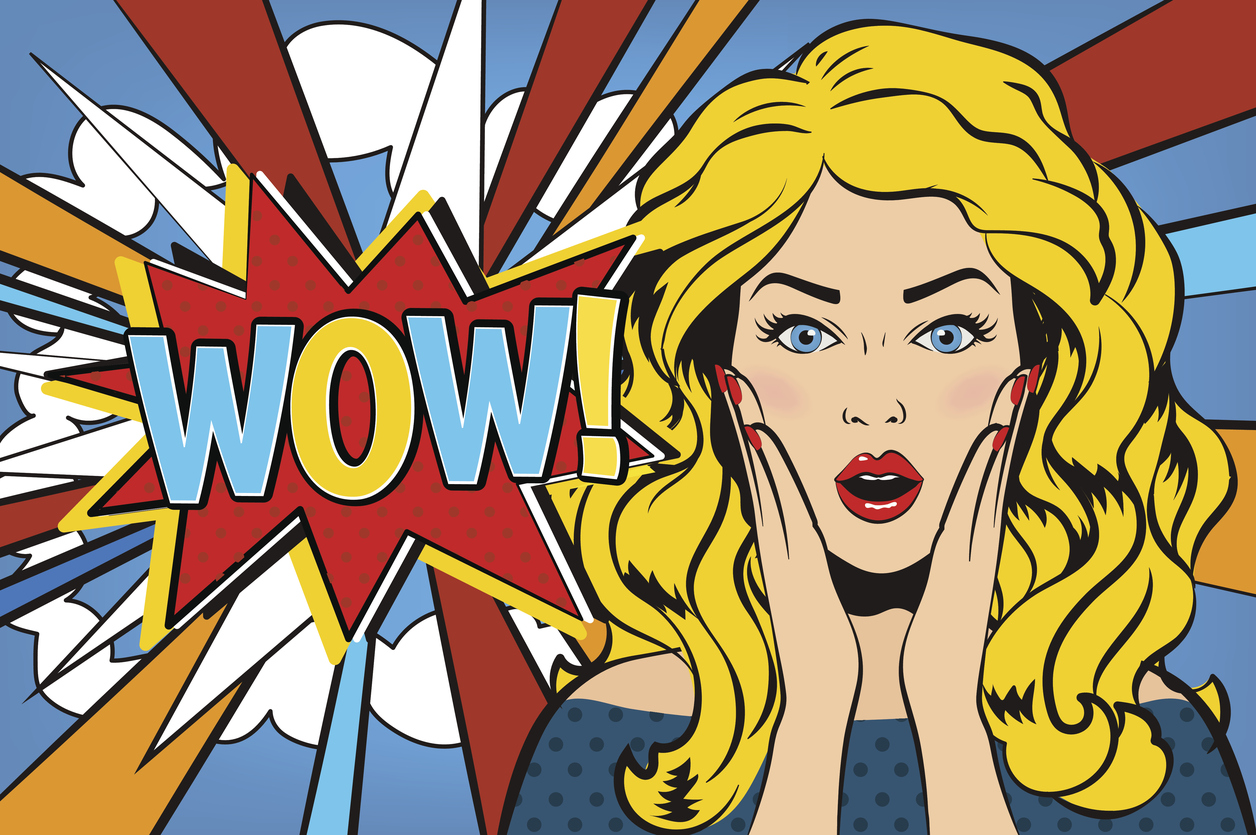 Bubble shocked girl curata. Wow clipart surprised woman