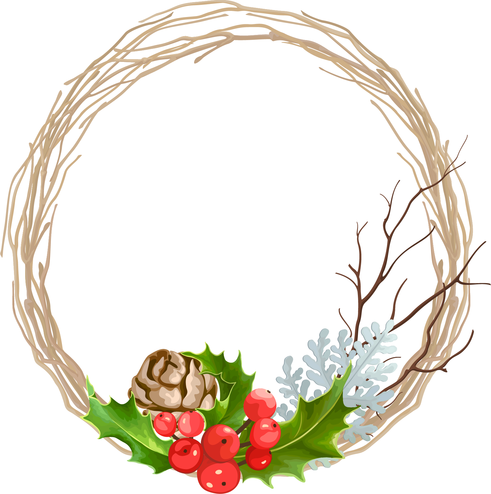 Wreath vector png. Christmas garland decoration transprent