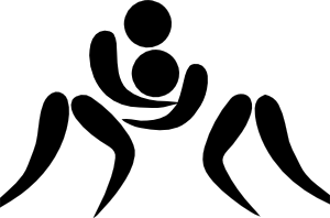 Olympic sports wrestling pictogram. Wrestlers clipart