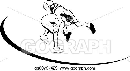 Wrestlers clipart boys wrestling. Vector illustration youth stock