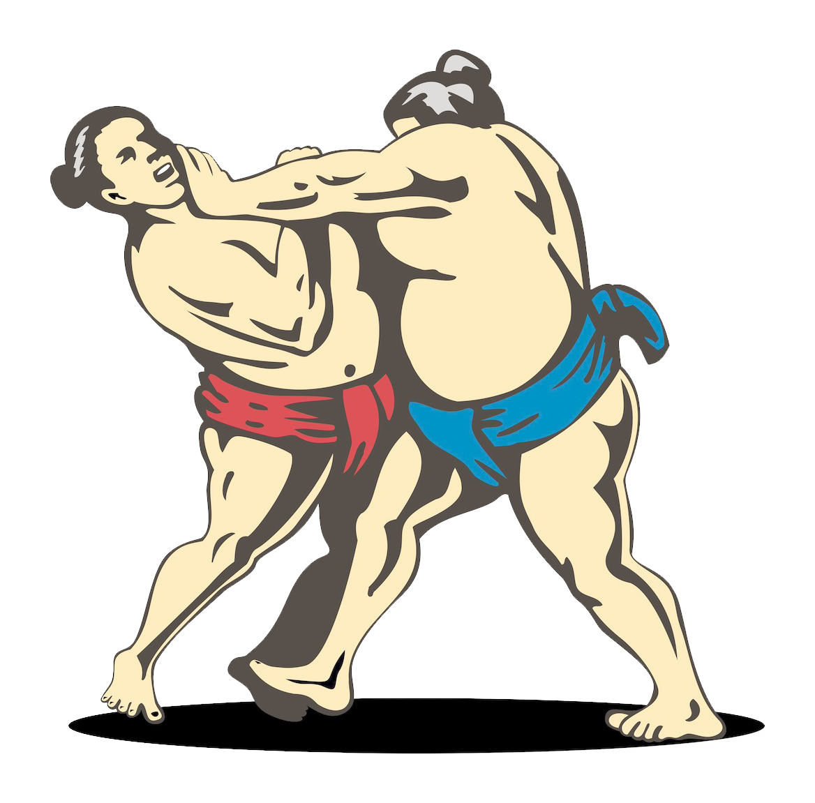 Wrestlers clipart combat. Sumo wrestling stock illustration