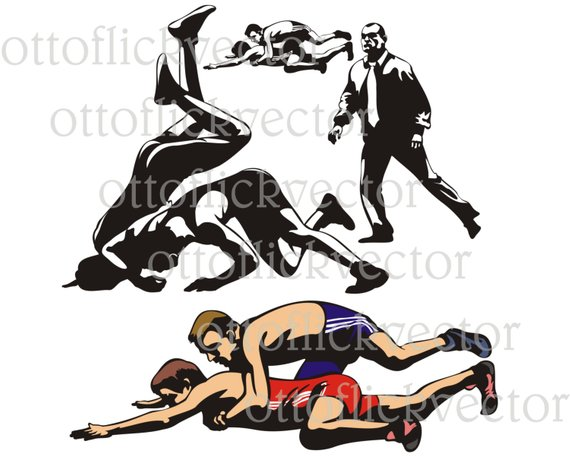 Wrestling silhouettes vector eps. Wrestlers clipart combat