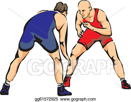 Wrestlers clipart combat. Vector illustration wrestling eps