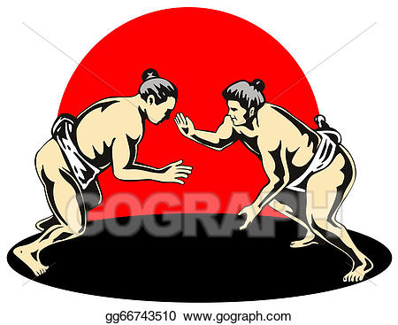 Stock illustration japanese sumo. Wrestlers clipart combat
